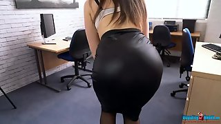 Tight Black Skirt Looks Stunning On A Secretary Babe