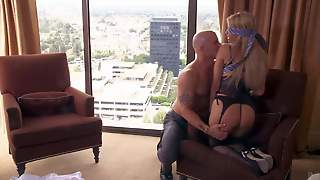 Blindfolded Milf Jessica Drake In Black Stockings And Panties Bares