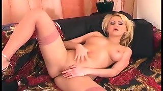 Masturbating In Thigh High Lingerie And High Heels
