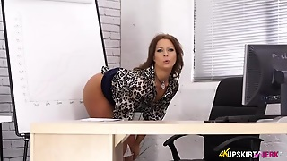 Secretary Opens Her Legs And Flashes Her Sexy Panties