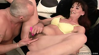 Gina Red Gets Her Hairy Pussy Toyed And Unforgettably Pounded