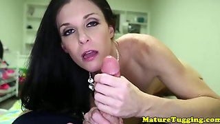 Cocksucking Milf Jerking Throbbing Cock