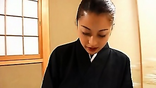 Japanese Geisha Masturbates Hairy Cunt With Vibrator