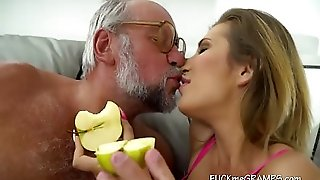Blonde In Bed With Old Man
