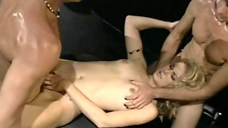 Blonde Loving Her First Threesome