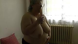 Old Chubby Granny With Big Tits Plays With Dildo