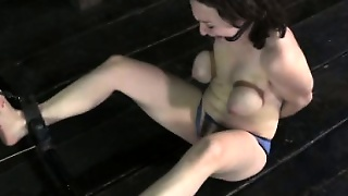 Breast Bondage Sub Gets Feet Punished