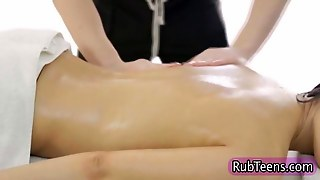 Massage Teen Fingered On A Massage Table
