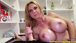 Bigtitted Stepmom Giving Doublehanded Handjob