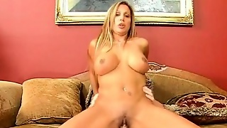 Dirty Blonde Milf Humps Dick On The Sofa