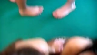 Students Orgy On A Pool Table