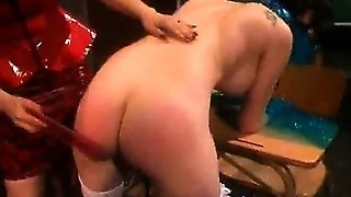 Gagged Slave Spanked By Her Dominatrix