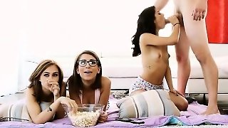 Three Besties Sharing On One Lucky Guy While Watching Movie