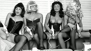 Four Chicks In Corsets Have Hot Lesbian Sex In Black And White Video