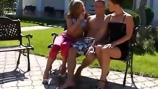 Pissing Outdoor Ffm Threesome