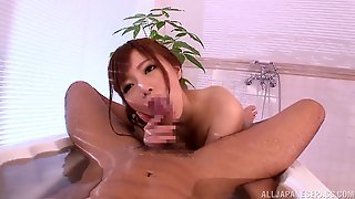 Miyabi Brings A Guy Into The Bathtub So She Can Suck His Cock