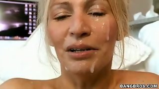 Busty Milf Gets Fucked And Creamed By 2 Young Cocks