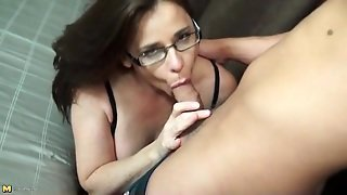 Pretty Mom Kissing And Blowing Her Young Lover