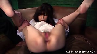 With Her Hands Tied Up, This Babe Can't Do Anything But Moan And Cum