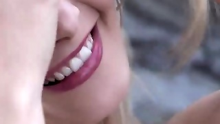 Smiling Anna T Flashing Petite Cunt In Close-Up
