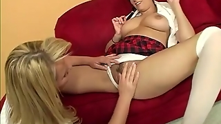 Blonde Cougar Licking Babes Pussy