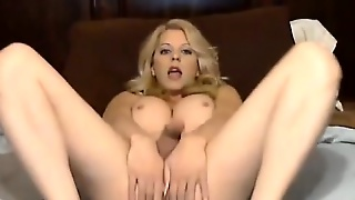 Busty Ts Anal Toying While Handjobs Until She Cums On Palm