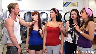 On Laundry Day A Group Of Girls Has A Gangbang With A Dude