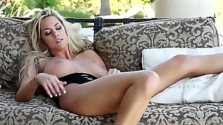Busty Blonde Plays With Excited Pussy Outside House