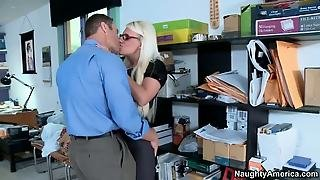 Office Sex, Busty, Blonde, Blowjob, Milf, Hardcore, Stockings, Big Tits
