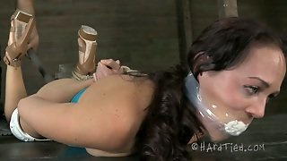 Shabby Looking Brunette Doxy Gets Her Curvaceous Frame Bandaged