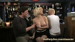Hot Blonde In Party Gangbang