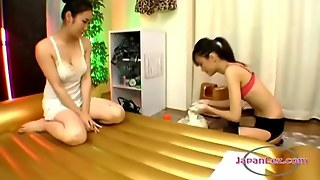 Hot Asian Lesbian Gets Massaged With Cream And Licked