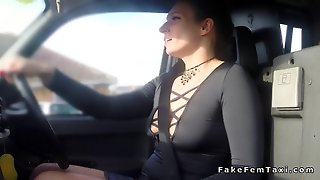 Huge Tits Lesbian Licked In Fake Taxi