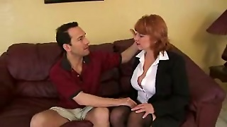 Redhead Mom Seduces Her Neighbour And Gives Him A Blowjob