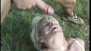 Blonde Hirsute Granny Outdoor Anal