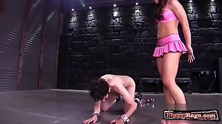 Brunette Pornstar Ballbusting And Cumshot