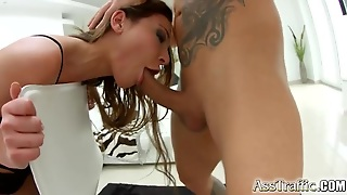 Babe Does A Long Double Penetration And Swallows Cum