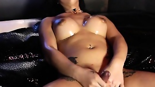 Closeup Solo Masturbation With Tattooed Tgirl