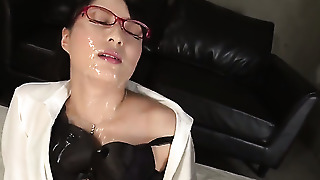 Hot Brunette Gets Cum On Her Glasses