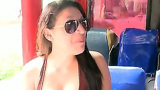Sexy Sexy Susan Gets Picked Up In The Bus And Convinced To Attend To A Nasty Orgy