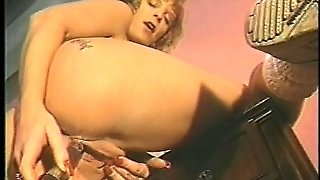 Old School Lesbians In Lingerie Desperately Try To Have An Orgasm