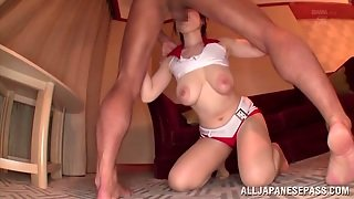 Race Queen With Natural Tits Sucks Two Cocks