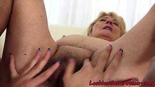 Hairy Granny Pussylicked By Sweet Lesbian