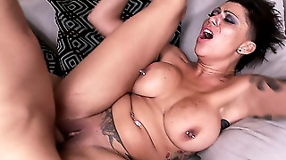 Wild Punk Bitch With Big Tits Rides A Cock Like A Total Freak