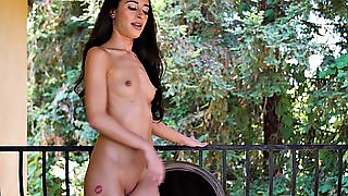 Stunning Brunette Shows Her Delicious Body While In Nature