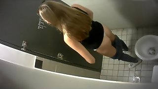 Tape, Slim, Long, Chicks, From, Brunette, Toilet, Camera, Takes, Perfect, Pissing
