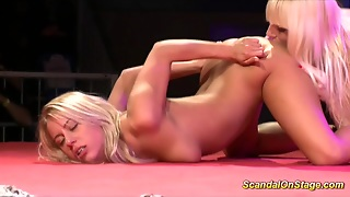 Lesbian Busty Babes On Stage