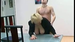 Lustful Old Russian Blonde Fucked By Young Guy