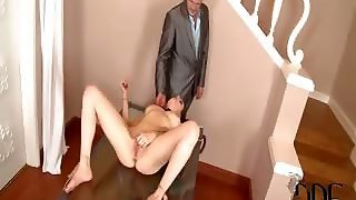In Last Week's Initial Installment, Samantha Bentley Entertained Herself With Auto-Bondage And Anal And Oral Dildo Penetration. And Now She Deliberately Dozes On The Glass Table After Her Orgasm So Her Man Ian Scott Will Come Home To Find Her Still Bound,
