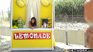 Busty Brunette Chick Fucked From Behind At Lemonade Stand